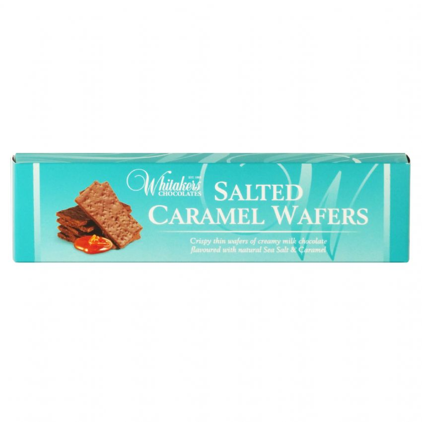 Salted Caramel Wafers - Milk Chocolate  Crispy Thins Whitakers Chocolates Box
